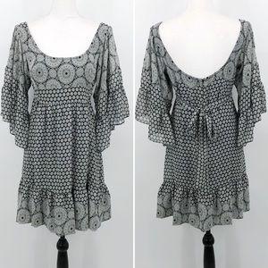 Betsey Johnson Dress Bell Sleeve Ruffle Printed 6